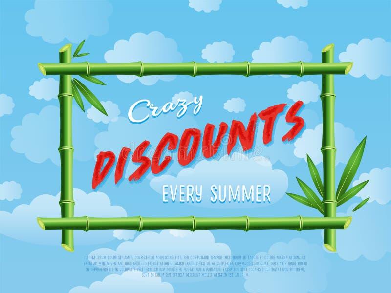 Gekke kortingen elke de zomeraffiche stock illustratie