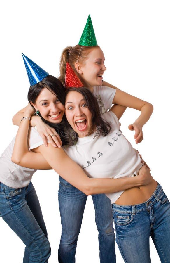 Gekke meisjes in dwaaskappen stock fotografie