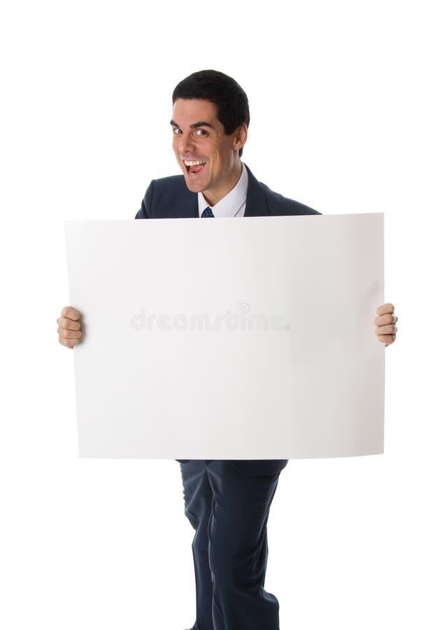 Gekke mens met kaart stock afbeelding