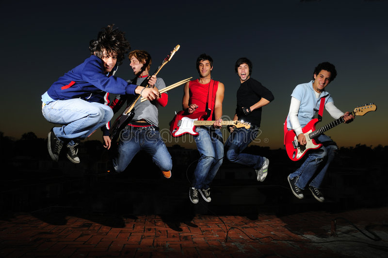 Gekke muzikale band royalty-vrije stock fotografie