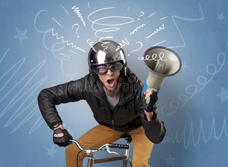 Gekke ruiter op de fiets stock foto
