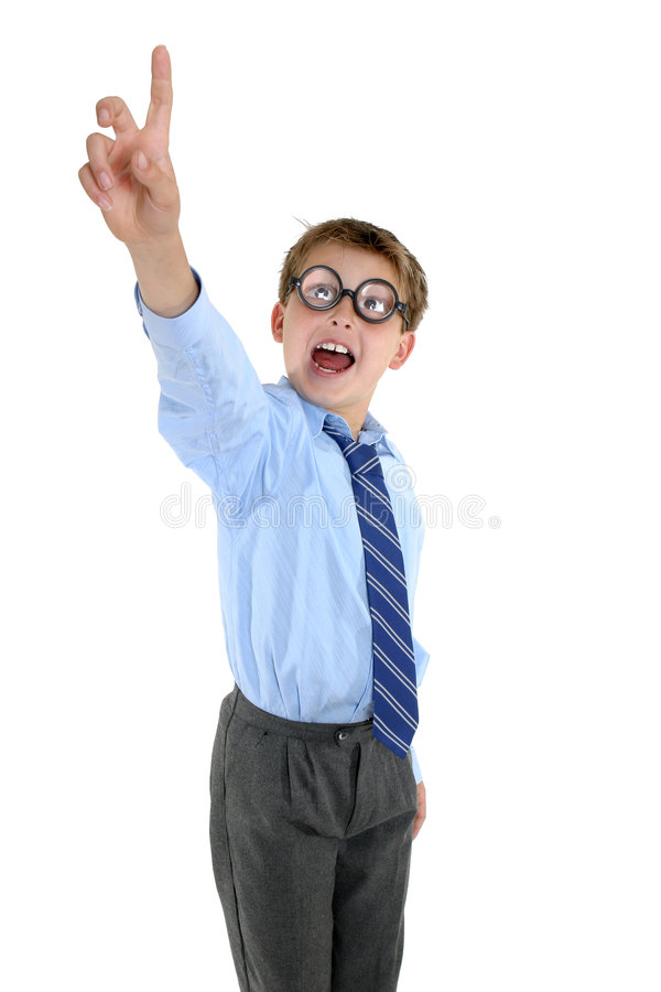 Gekke schooljongen met een antwoord stock fotografie