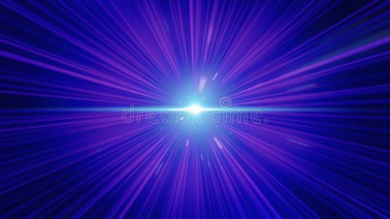 Gekke snelle vlucht in hyperspace van ruimte onder nevels en purpere sterren en zwarte kosmische achtergrond Het vliegen snel aan royalty-vrije illustratie