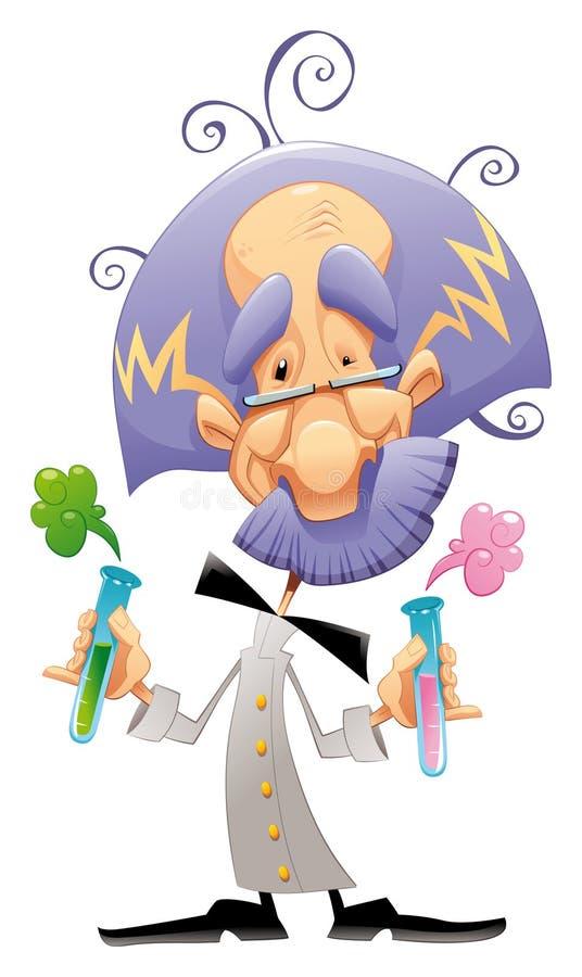 Gekke wetenschapper. stock illustratie
