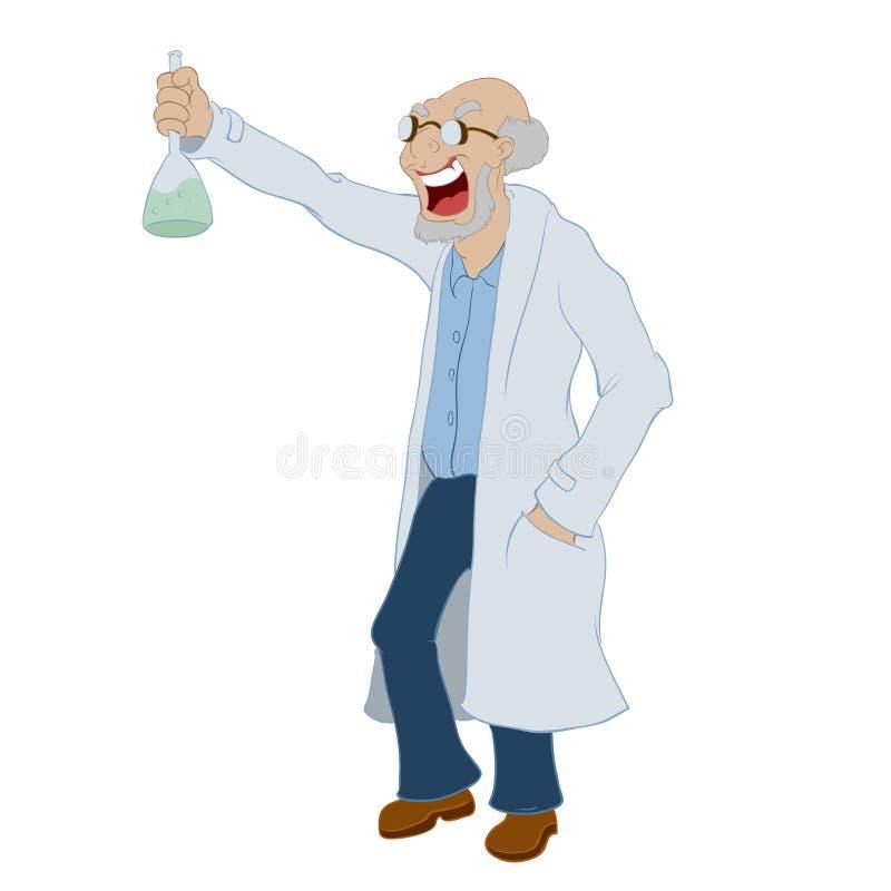 Gekke wetenschapper royalty-vrije illustratie