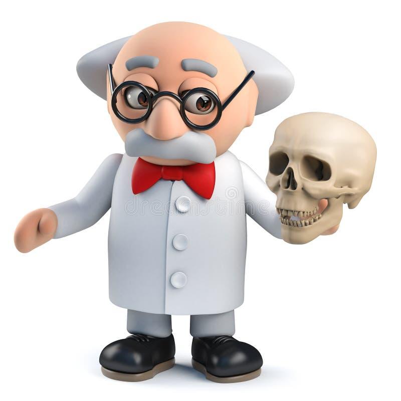 Gekke gekke wetenschapper die een menselijke schedel in 3d houden royalty-vrije illustratie