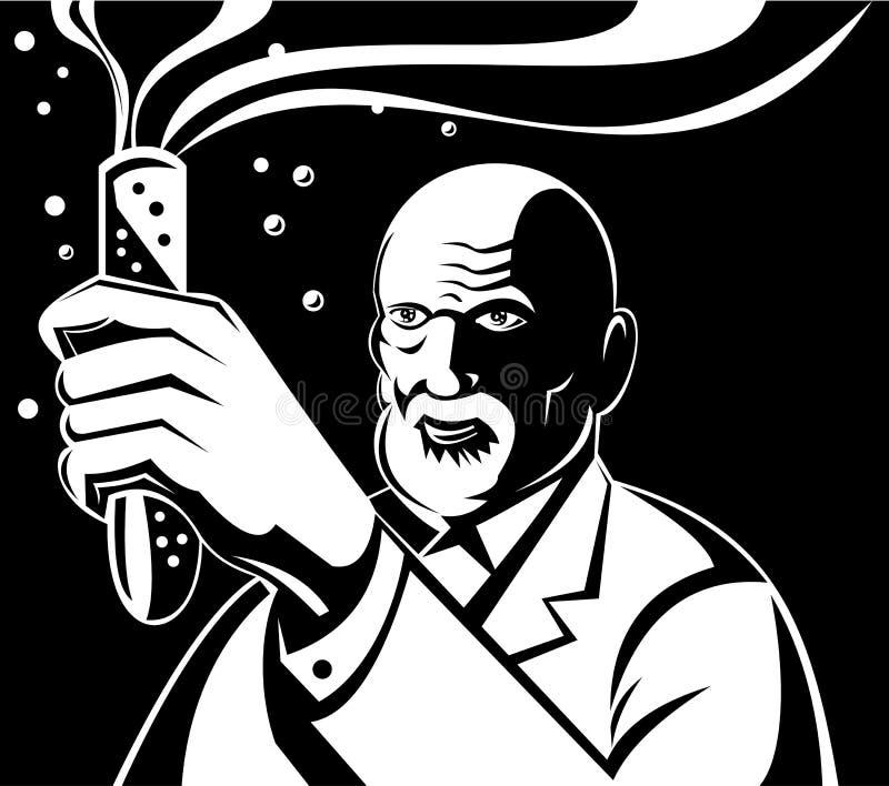 Gekke Wetenschapper die een reageerbuis houdt vector illustratie