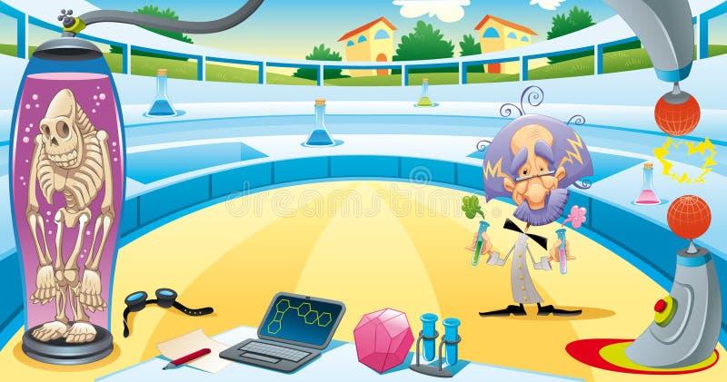 Gekke wetenschapper in het laboratorium. vector illustratie