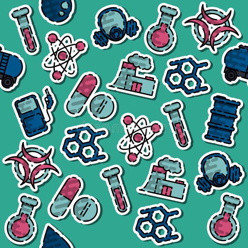 Gekleurd Chemisch de industriepatroon stock illustratie