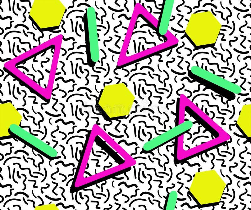 GEKLEURD DE STIJL NAADLOOS PATROON VAN MEMPHIS GEOMETRISCHE ELEMENTENtextuur JAREN '80-JAREN '90 ONTWERP OP WITTE ACHTERGROND vector illustratie