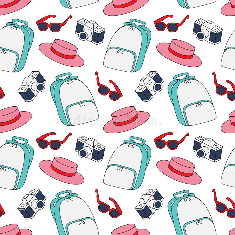 Gekleurd de zomer naadloos patroon van het Hipsterpak schets met retro manier in accesoories vector illustratie