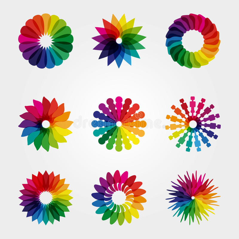 Gekleurd embleem voor pret en genoegen stock afbeeldingen