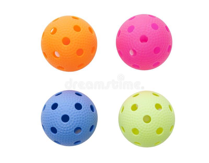 Gekleurd floorballs stock fotografie
