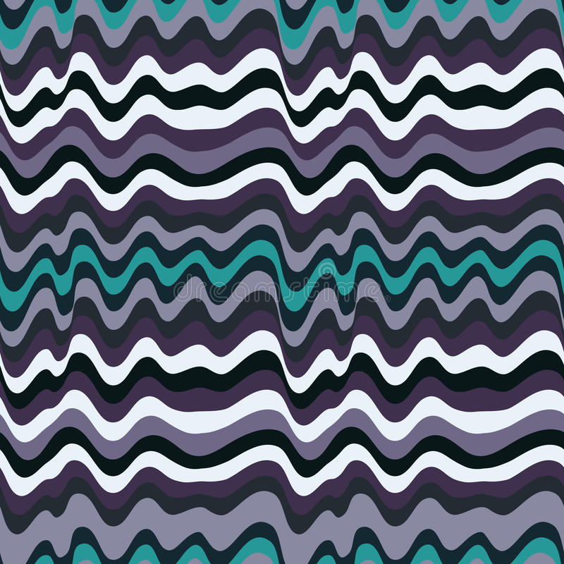 Gekleurd golvend strepenpatroon Horizontale curvy lijnen Illustratie stock illustratie