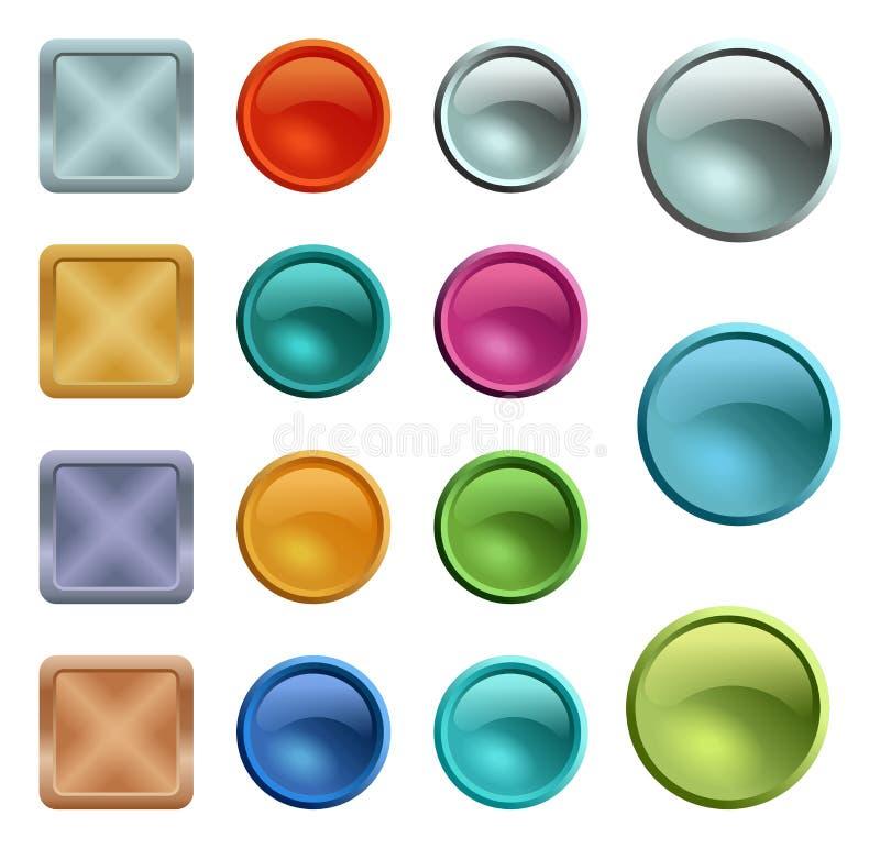 Gekleurd leeg knopenmalplaatje met metaaltextuur stock illustratie