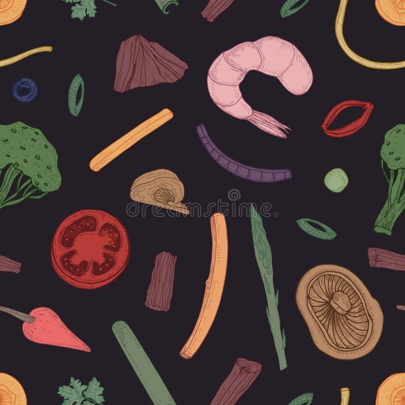Gekleurd naadloos patroon met voedselstukken Achtergrond met groenten en zeevruchtenhand met contourlijnen op zwarte wordt getrok vector illustratie