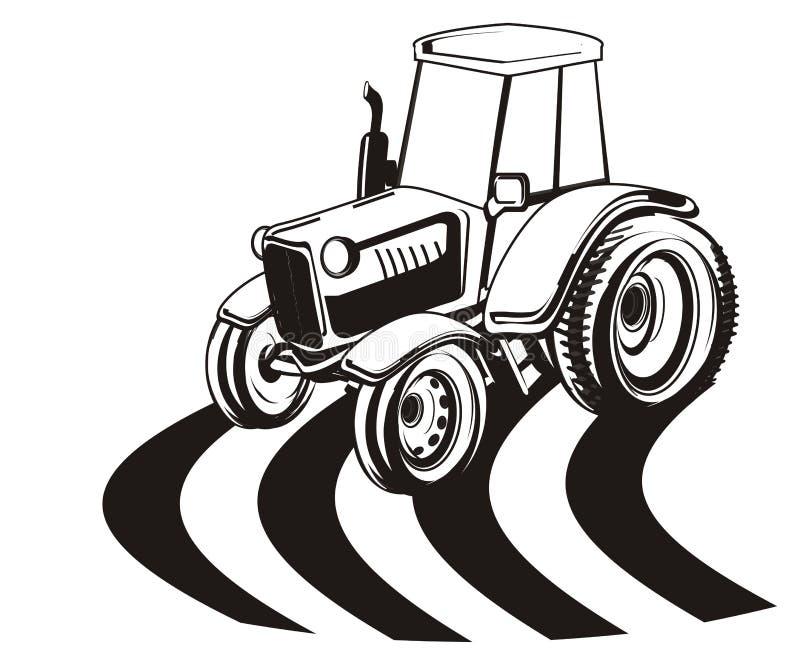 Gekleurd niet tractor en gebied vector illustratie