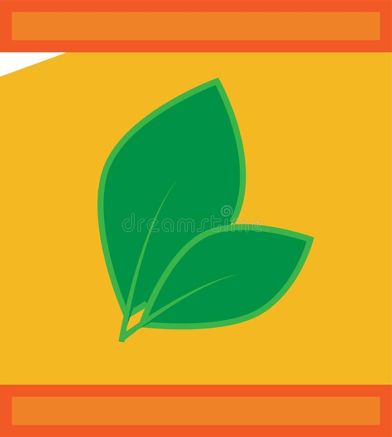 Gekleurd pictogramtheezakje met natuurlijk bladpak vector illustratie