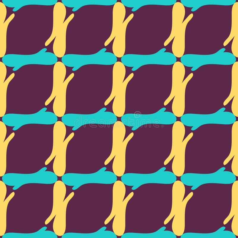Gekleurd retro abstract naadloos patroon in een geometrische stijl klassieke kleur met geometrische vormen vectorillustratie voor royalty-vrije illustratie
