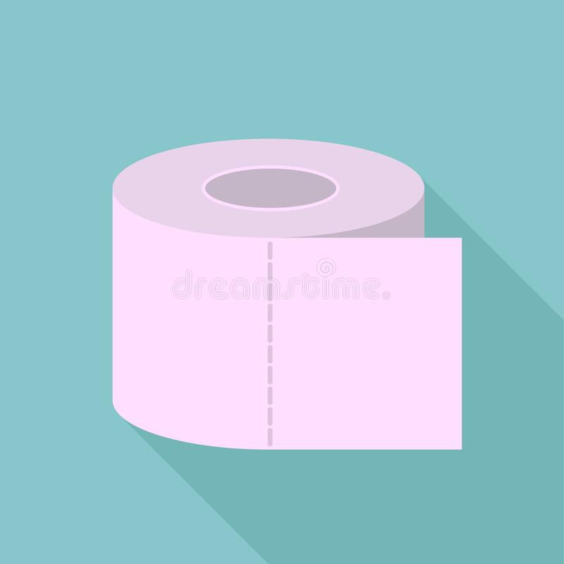 Gekleurd toiletpapier, toiletpapier met lange schaduw, toiletpapierembleem vector illustratie