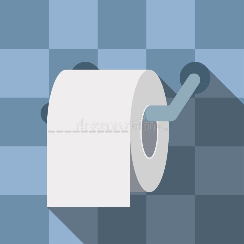 Gekleurd toiletpapier, toiletpapier met lange schaduw, toiletpapierembleem royalty-vrije illustratie