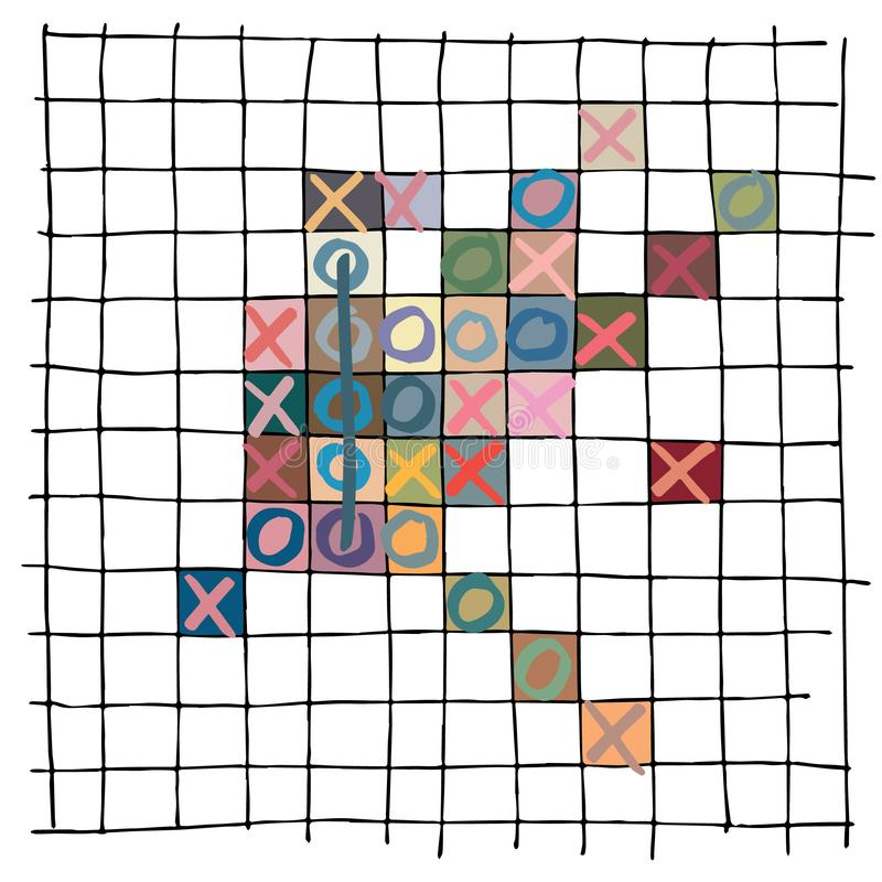 Gekleurd vijf op een rij spel met sommige beperkte kleuren, een hand getrokken golvend die patroon, op manueel getrokken rustieke royalty-vrije illustratie
