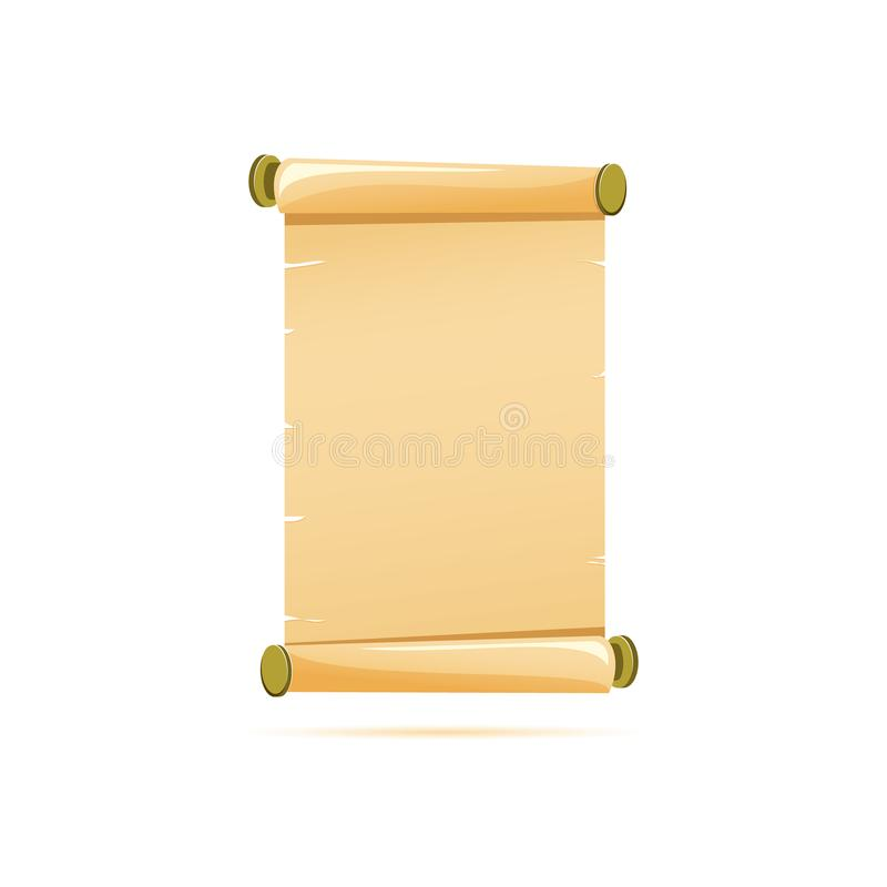 Gekleurd vlak pictogram, vectorontwerp met schaduw Leeg Roldocument stock illustratie