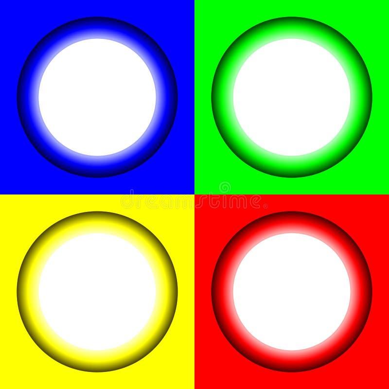 Gekleurde abstracte cirkels met gloeiend helder midden Vectorillustratie voor uw ontwerp, embleem, Web vector illustratie
