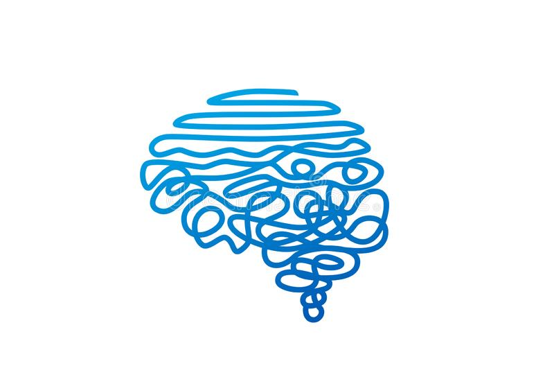 Gekleurde blauwe draad in de vectorillustratie van de menselijke hersenvorm stock illustratie