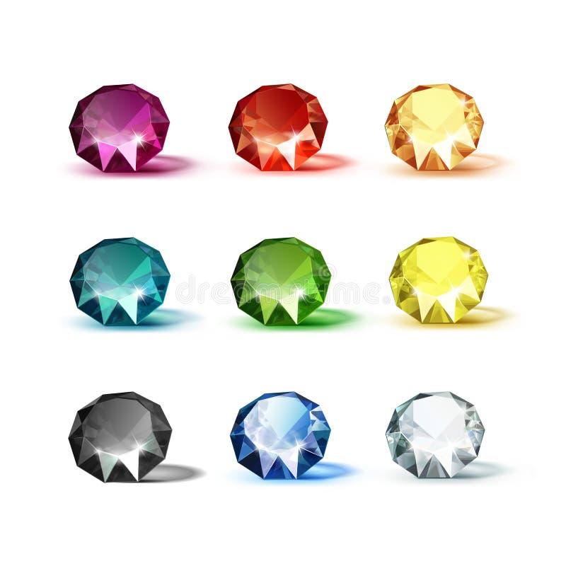 Gekleurde Blauwe Purpere Geeloranje Groene Witte Zwarte Rode Diamanten royalty-vrije illustratie