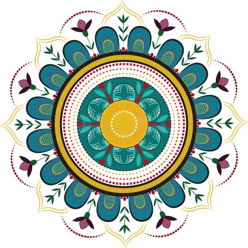 Gekleurde bloemenmandala royalty-vrije illustratie
