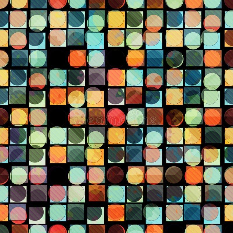 Gekleurde cirkels en veelhoeken abstracte geometrische vectorillustratie als achtergrond stock illustratie