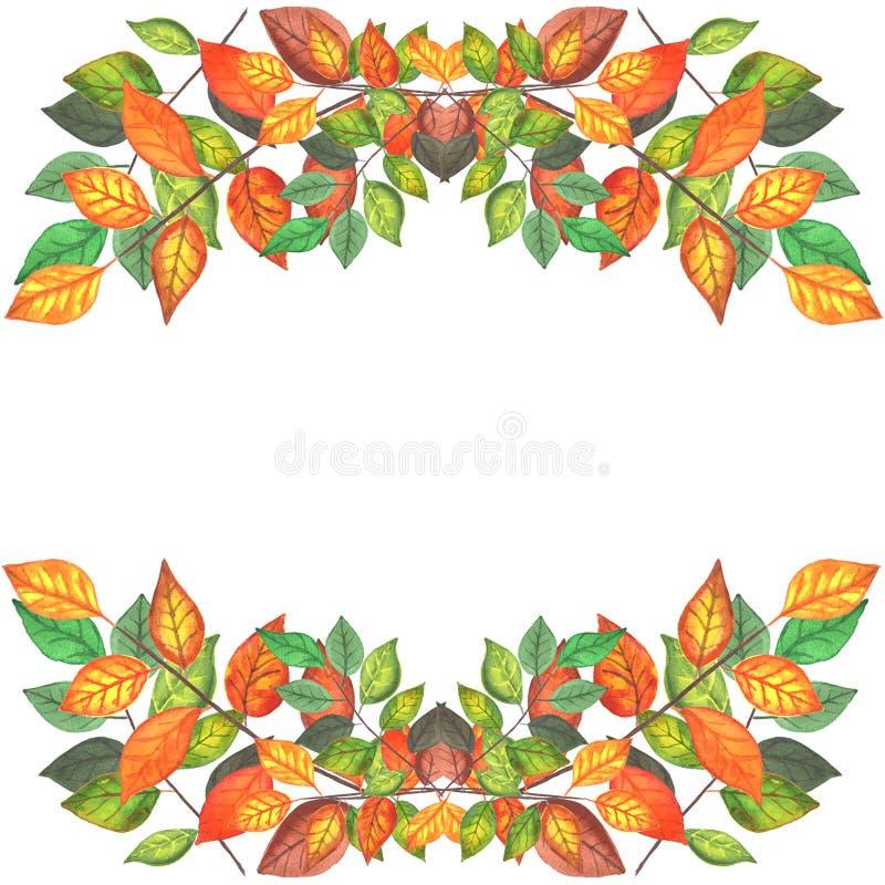 Gekleurde de herfst vertakt zich grens 2 stock illustratie
