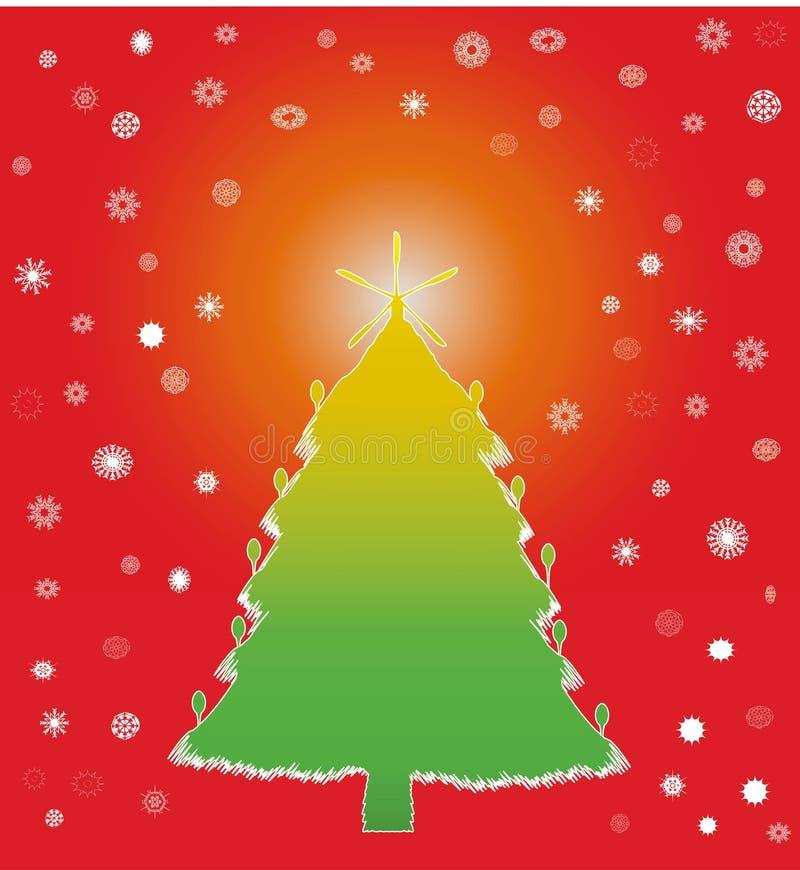 Gekleurde de winterkerstboom stock illustratie