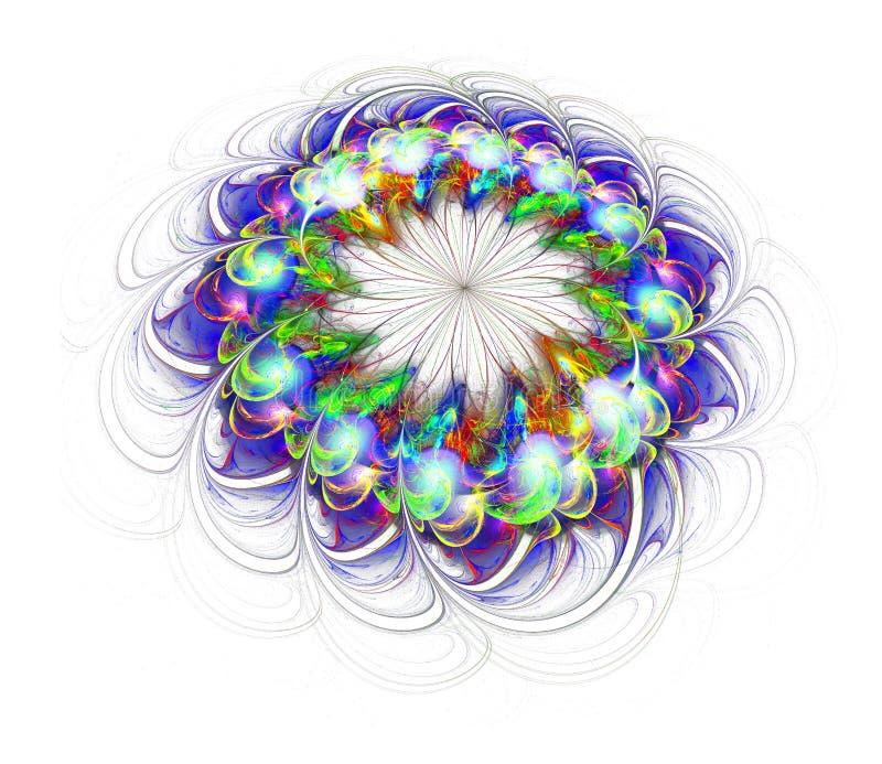 Gekleurde die bloem op witte achtergrond wordt geïsoleerd stock illustratie
