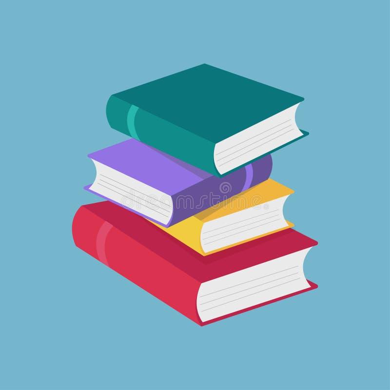 Gekleurde die boekenpictogrammen in vlakke geïsoleerde ontwerpstijl worden geplaatst Concept voor onderwijs en studie terug naar  stock illustratie