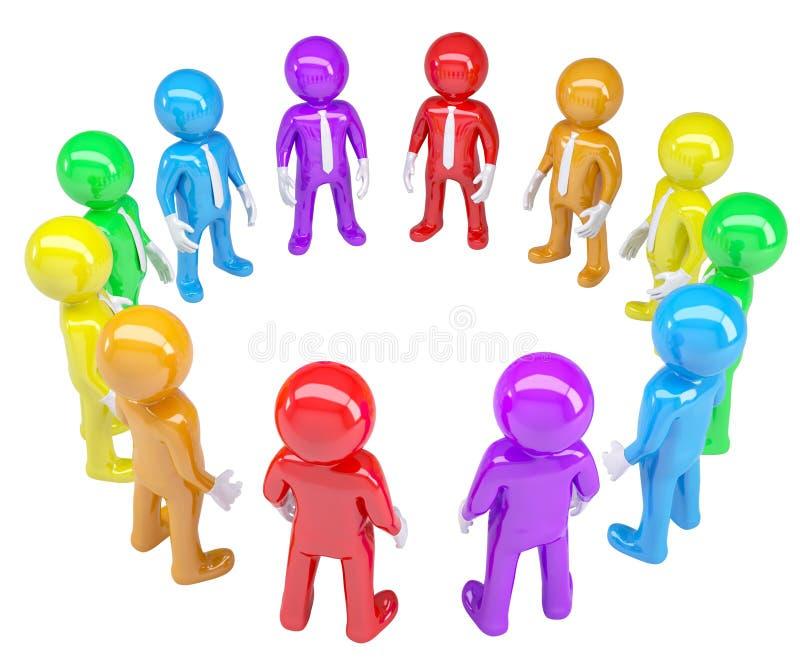 Gekleurde die mensen in een cirkel worden bevonden stock illustratie