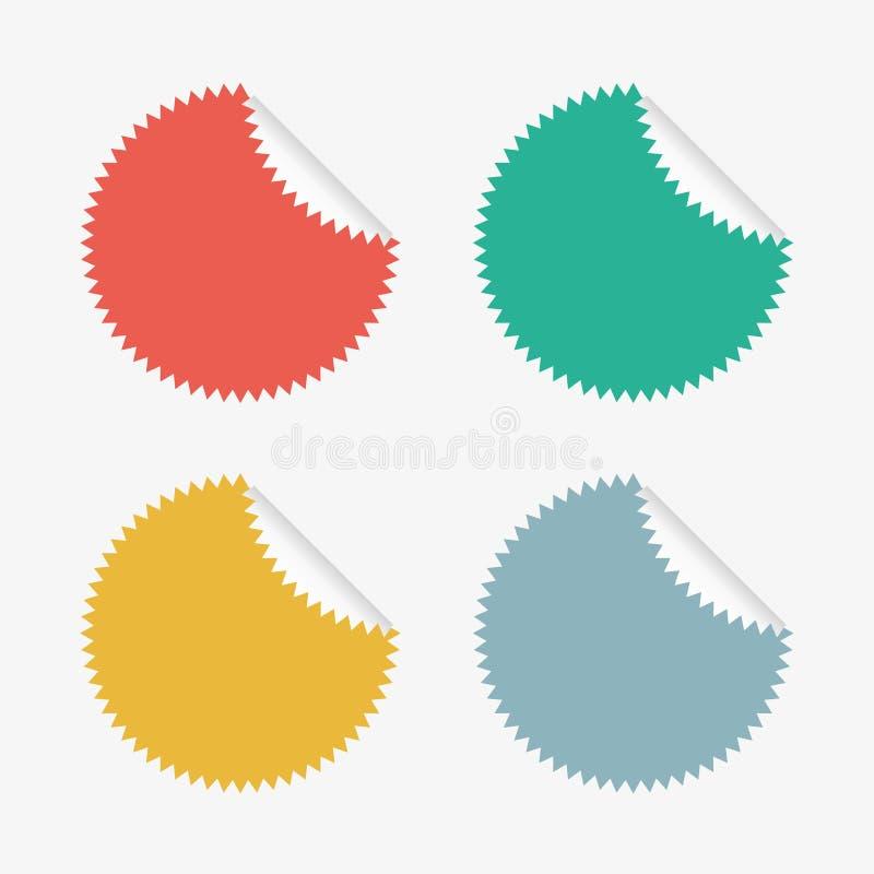 Gekleurde die Stickers in Vector worden geplaatst stock foto