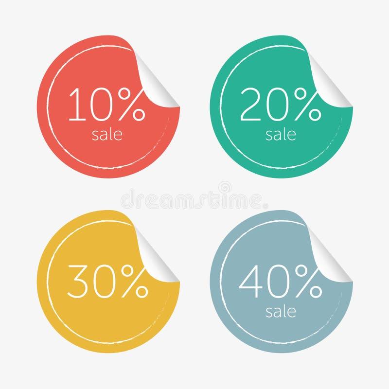 Gekleurde die Stickersverkoop in Vector wordt geplaatst royalty-vrije stock afbeelding
