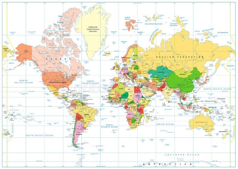 Gekleurde die Wereldkaart op wit met etikettering wordt geïsoleerd stock illustratie