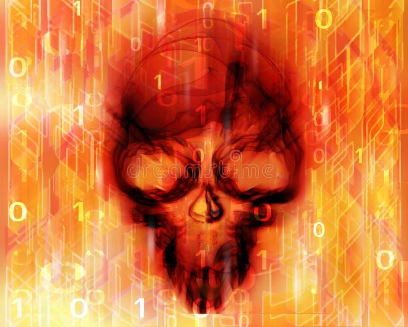 Gekleurde digitale abstracte achtergrond met schedel royalty-vrije illustratie