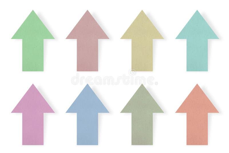Gekleurde document pijlreeks stock afbeeldingen
