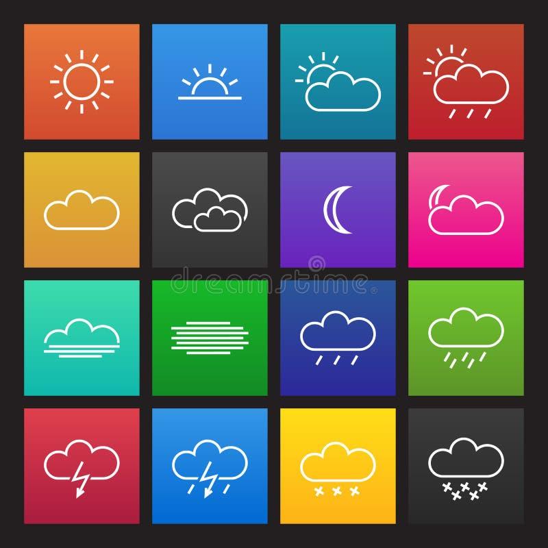 Gekleurde eenvoudige weerpictogrammen vector illustratie