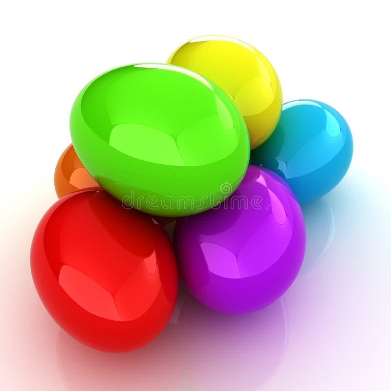 Gekleurde Eieren op een wit stock illustratie