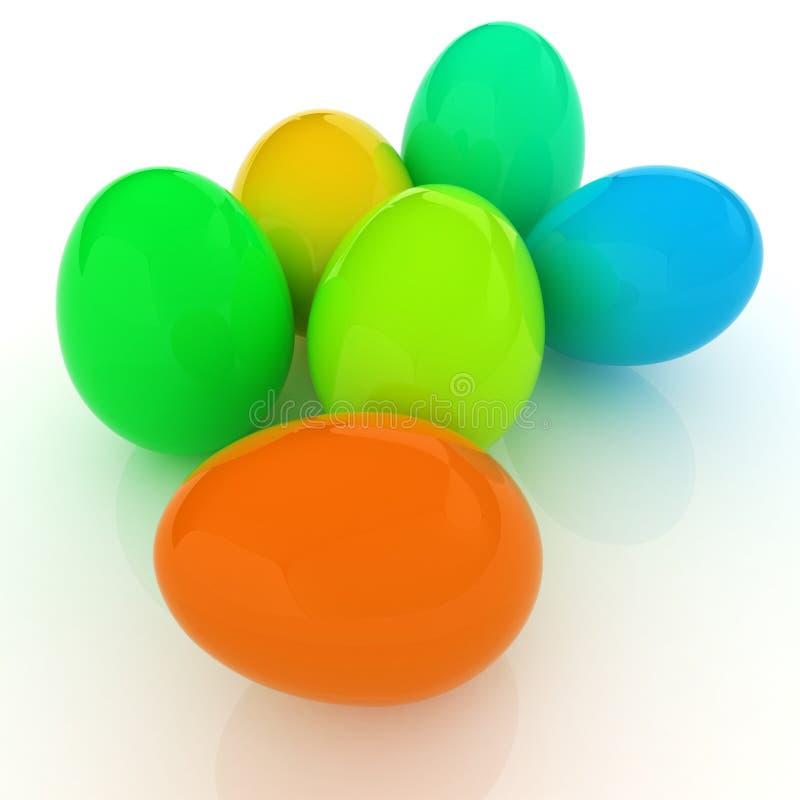 Gekleurde Eieren op een wit royalty-vrije illustratie