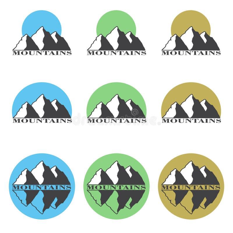 Gekleurde emblemen, de reeks van de pictogrammenberg vector illustratie