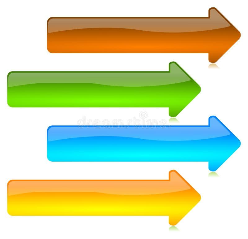 Gekleurde en glanzende pijlenknopen stock illustratie