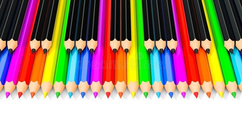 Gekleurde en zwarte potloden als pianosleutels, het 3D teruggeven vector illustratie