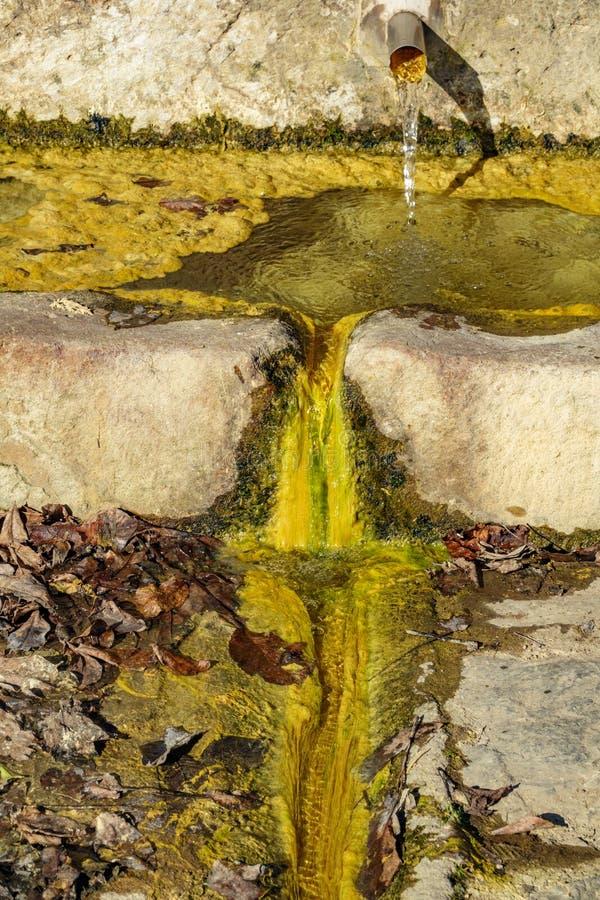 Gekleurde fonteinclose-up met slijm, vooraanzicht royalty-vrije stock foto's