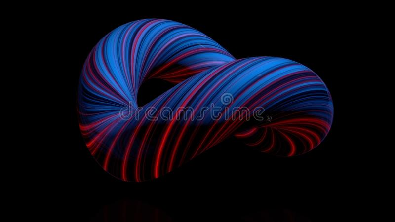 Gekleurde gebogen cijfertorus Driedimensionele animatie van bundel van verdraaid in cirkel van lichtgevende draden Samenvatting vector illustratie